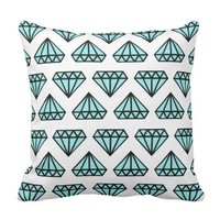 Throw pillow: white, black & blue diamond print