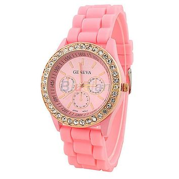 Silicone Quartz Golden Crystal Stone Jelly Wrist Watch For Ladies Women Girl