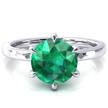 Maise Round Emerald 6 Prong Diamond Accent Engagement Ring