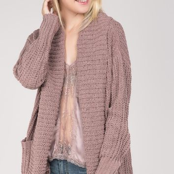 Open Front Chenille Cardigan Sweater - Red Bean