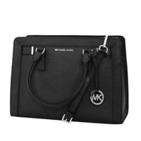 ONETOW MICHAEL Michael Kors Women's Dillon Shoulder Bag Medium Leather Satchel Handbag (BLACK)
