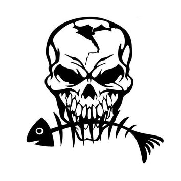 16.7*17.8CM Fishing Skull Skeleton Personal Automobile Tail Decorative Decal Funny Fashion Car Sticker C6-0630
