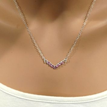 Sterling Silver Pink Crystal Chevron Necklace