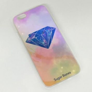 Pink Diamond Colorful Reflection Rubber Case for iPhone 5s 6 6s Case iPhone 6 6s Plus Gift-76-170928