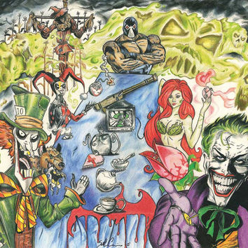 Batman Villain Tea Party - Joker, Mad Hatter, DC comic, Harley Quinn, Poison Ivy, Bane, Scarecrow. Watercolor pencils, markers.