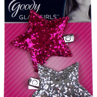 Goody Glam Girls Set of 12 Salon Clips Pink Silver Large Glitter Star Sparkle