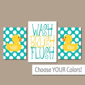 DUCK Bathroom Wall Art, CANVAS or Prints Rubber Duckies, Girl Boy Shared Bathroom Wall Art, Yellow Turquoise WASH Brush Flush Set of 3 Decor