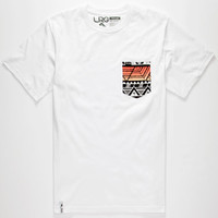 Lrg Geo Print Mens Pocket Tee White  In Sizes