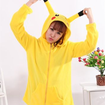 Kigurum Pyjamas Unisex Pijamas Japan  Pikachu Hoody Ears Face Tail Zip Sweatshirt Hoodie Costume cosplay halloweenKawaii Pokemon go  AT_89_9