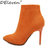 Sexy Women Boots Solid Flock Suede Zip High heels Boots Lady Stiletto Pointed toe Ankle Boots Martin Boot Orange Blue Rose Black