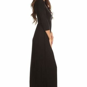 Long black 3/4 length sleeve maxi dress