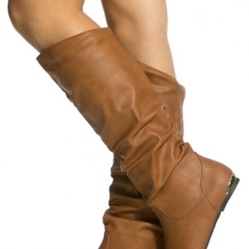 Cognac Faux Leather Inner Pocket Knee High Boots @ Cicihot Boots Catalog:women's winter boots,leather thigh high boots,black platform knee high boots,over the knee boots,Go Go boots,cowgirl boots,gladiator boots,womens dress boots,skirt boots.