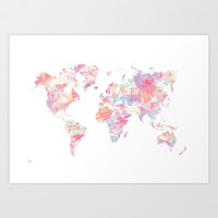 Watercolour World Map (pink) Art Print by Clover Chen