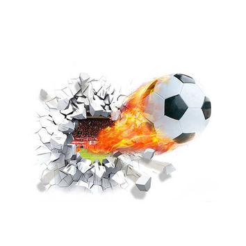 Soccer Funs 3d Mural Art Sport Game Pvc Poster Firing Football Through Wall Stickers Kids Room Decoration Home Decals