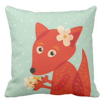 Flowers And Cute Fox Throw Pillow