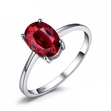 1.6ct genuine red Garnet solitaire woman's ring oval cut solid 925 sterling silver