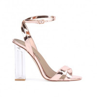 Metallic Lucite Block Heels Rose Gold
