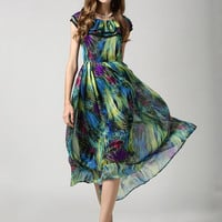 Green Printed Lotus Leaf Collar Chiffon Sheath A-line Pleated Maxi Dress