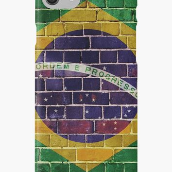 'Brazil flag on a brick wall' iPhone Case/Skin by steveball