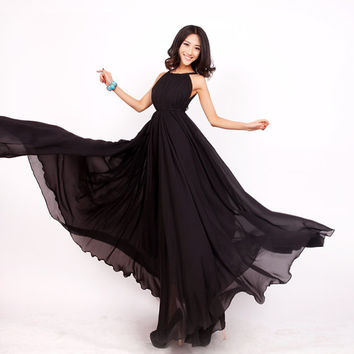 Black Wedding Party Dress Boho Holiday Beach Maternity Maxi Dress
