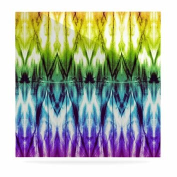 "Nina May ""Rainbow Argyle Shibori"" Multicolor Abstract Diamond Mixed Media Watercolor Luxe Square Panel"