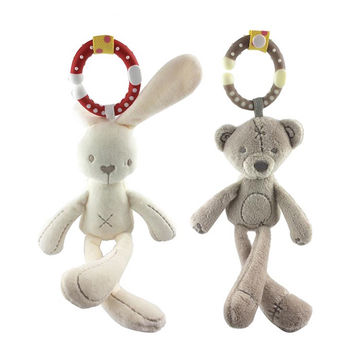 Cute Rabbit Baby Toys Plush Rattles Bed Stroller Hanging Bell Doll Soft Musical Mobile Toy Carriages Kids Gift