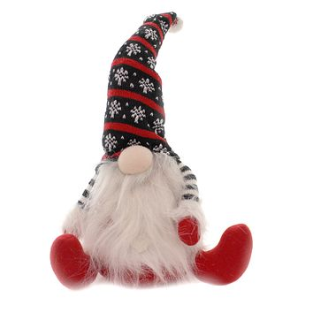 Christmas GNOME W/ TALL KNITTED HAT Fabric Stripe Shirt Folklore Cbe191