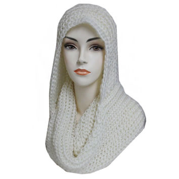 """Simply Adorable"" Classic Crochet White Hooded Infinity Scarf"