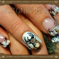 """Set of 40 Hand Painted Snow Camo French Tip with Buck Portrait Nail Wraps from the Freeda Latham """"Signature Collection."""" ©"""
