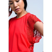 Red Round Neck Sleeves Blouse