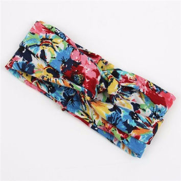Women Flower Elastic Twisted Turban Hair Band Knotted Headband Yoga Head Wrap
