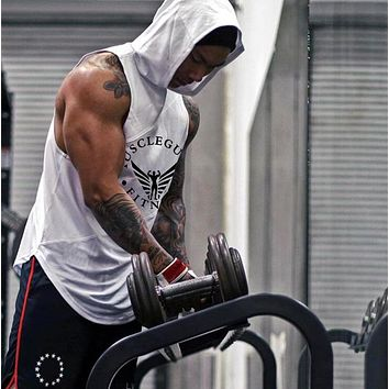 Bodybuilding Stringer Tank Tops Hoodies Sport wear Tank tops Fitness Men gyms Clothing sleeveless t-shirts with hoodie