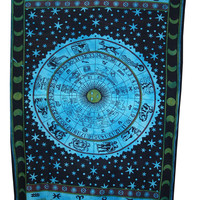 Twin ASTROLOGY Zodiac Hippie Hippy Wall Hanging Indian Tapestry Bedspread Boho Ethnic Single mandala tapestry home decor tapestries