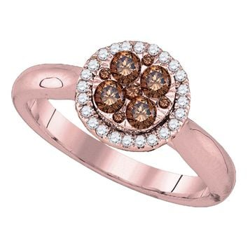 14kt Rose Gold Womens Round Brown Diamond Cluster Halo Bridal Wedding Engagement Ring 1/2 Cttw