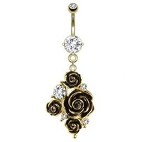 14g Dangling Gold Rose Bouquet Belly Button Ring Dangle with Clear Gems Navel Body Jewelry Piercing with Curved Barbell 14 Gauge