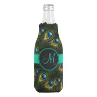 Women's Beautiful Fantasy Sparkly Peacock Feather Bottle Cooler