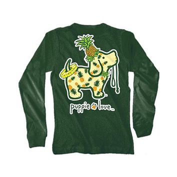 Long Sleeve Pineapple Pup Tee in Forest Green by Puppie Love