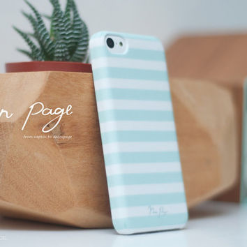 Apple iphone case for iphone iphone 3Gs iphone 4 iphone 4s iPhone 5 iphone 5s iphone 5c : Soft blue sea foam color line with white