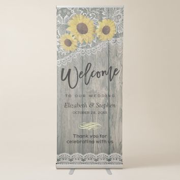 Rustic Wood Sunflower Elegant Lace Wedding Welcome Retractable Banner