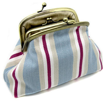 Blue Wine Striped Clutch Coin Purse Wallet White Cotton Linen Cream Kiss Lock Metal Gold Frame