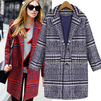 Plaid Long-Sleeve Notched Button Coat