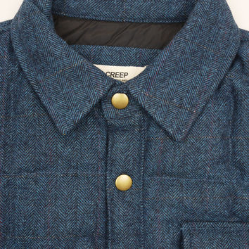 Creep Wool Tweed Down Shirt Midnight Blue - Present London