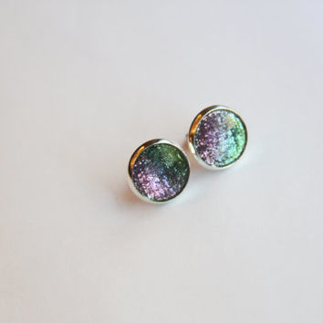 NEW - Faceted Green and Purple Glitter Earrings - Posts/Studs 12mm LARGE