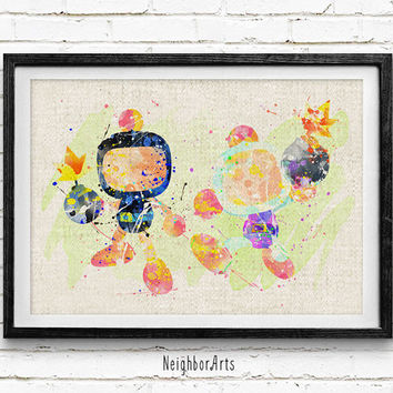 Bomberman Watercolor Print, Video Games Baby Boy Nursery Decor, Wall Art, Home Decor, Gift Idea, Not Framed, Buy 2 Get 1 Free!