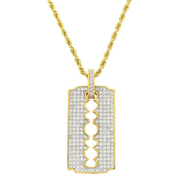 "Designer 18k Gold Finish Men's Razor Blade Pendant with Free 24"" Rope Chain"
