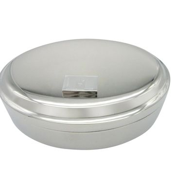 Silver Toned Etched Barbados Flag Pendant Oval Trinket Jewelry Box