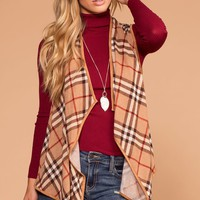 Holly Taupe Plaid Vest