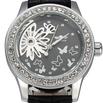 Luxury Brand WINNER Women Dress Watches Diamond Butterfly Flower Skeleton Dial Mechanical White Leather Band Ladies Wristwatches