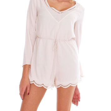 High Profile Long Sleeve Romper - Ivory