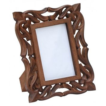 Enigmatic Moments – Hand-Carved 4x6 Wooden Photo-Frame/ Picture-Holder with Lattice Work